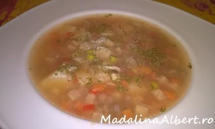 Supă cu legume, pipote și inimi de pui