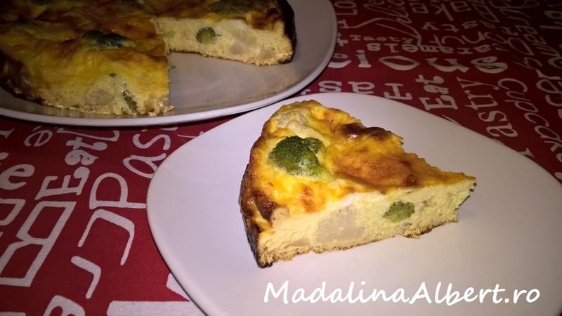 Budincă cu brânză de capră, broccoli și conopidă
