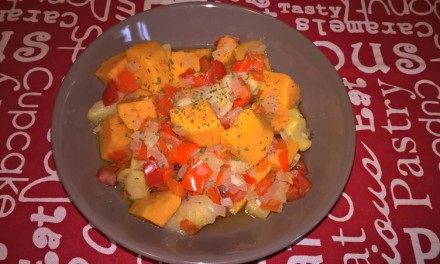 Tocăniță cu cartof dulce și dovlecel