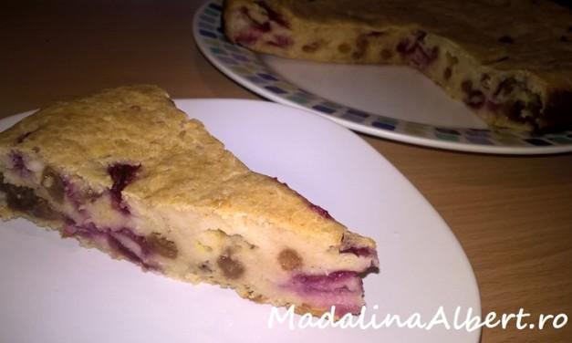 Prăjitură cu fulgi de ovăz, prune și stafide